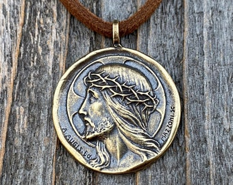 Antique Gold Crowned Jesus Medal Pendant, Brown Suede Lace Necklace, French Antique Replica, Artists Augis and Mazzoni, Rare French Medal