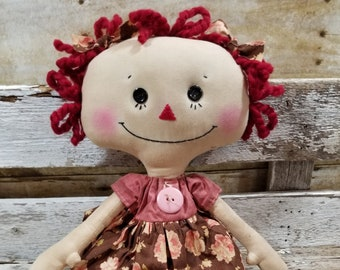 Raggedy Annie Lilly Annie Primitive Doll Raggedy Ann Pink Floral Dress Annie Doll Ready To Ship!
