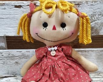 Raggedy Annie Kathy Annie Primitive Doll Raggedy Ann Pink And Brown Polka Dot Dress Annie Doll Ready To Ship!