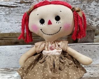Raggedy Annie Sandy Annie Primitive Doll Raggedy Ann Brown And Pink Polka Dot Dress Annie Doll Ready To Ship!