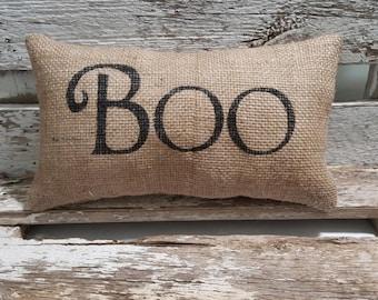 "Burlap Boo 11"" x 6"" Stuffed Pillow Halloween Boo Burlap Pillow Black"