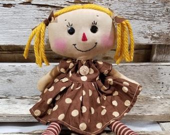 Raggedy Annie Krista Annie Primitive Doll Raggedy Ann Brown Polka Dot Dress Annie Doll Ready To Ship!