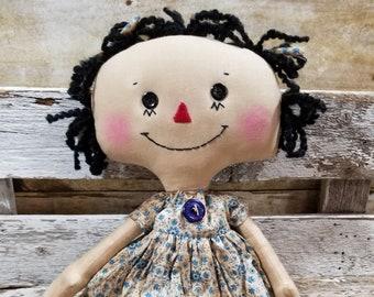 Raggedy Annie Katie Annie Primitive Doll Raggedy Ann Blue Floral Dress Annie Doll Ready To Ship!