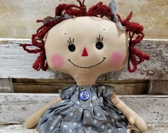 Raggedy Annie Crystal Annie Primitive Doll Raggedy Ann Blue Polka Dot Dress Annie Doll Ready To Ship!
