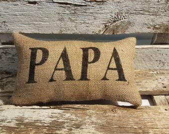 "Burlap PaPa 11"" x 6"" Stuffed Pillow Father's Day Or Burlap Birthday Gift"