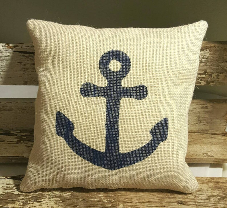 Navy Anchor Burlap Stuffed Pillow Nautical Summer Pillow image 0