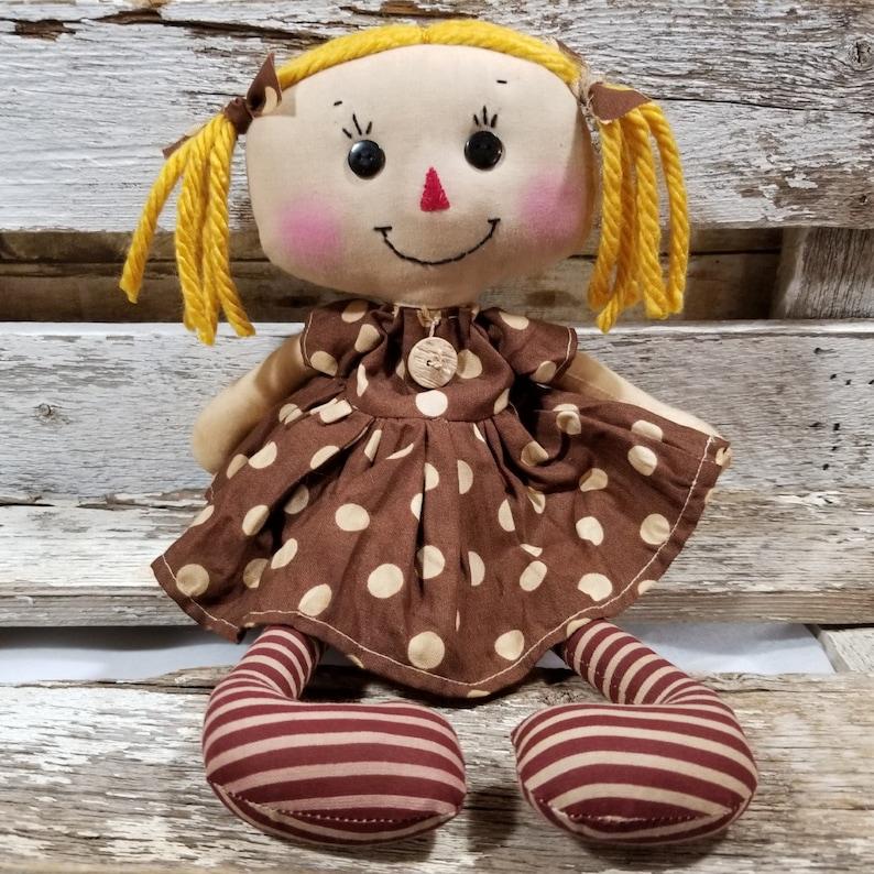 Raggedy Annie Krista Annie Primitive Doll Raggedy Ann Brown image 0