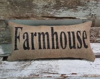 "Burlap Farmhouse Pillow | 6"" x 13"" Stuffed Burlap Pillow | Rustic Decor Pillow | Farmhouse Decor Pillow | Farmhouse Style Burlap Pillow"