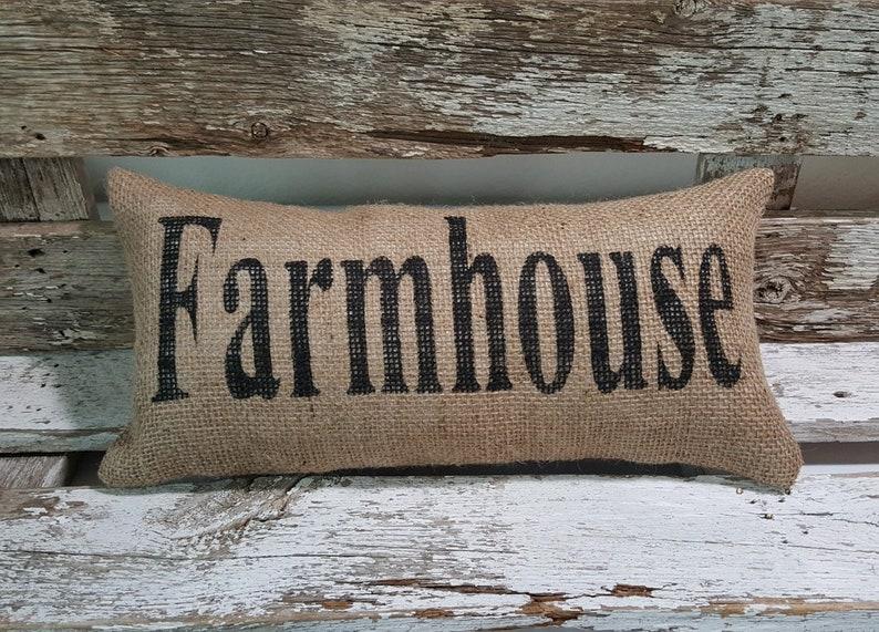 Burlap Farmhouse Pillow  6 x 13 Stuffed Burlap image 0