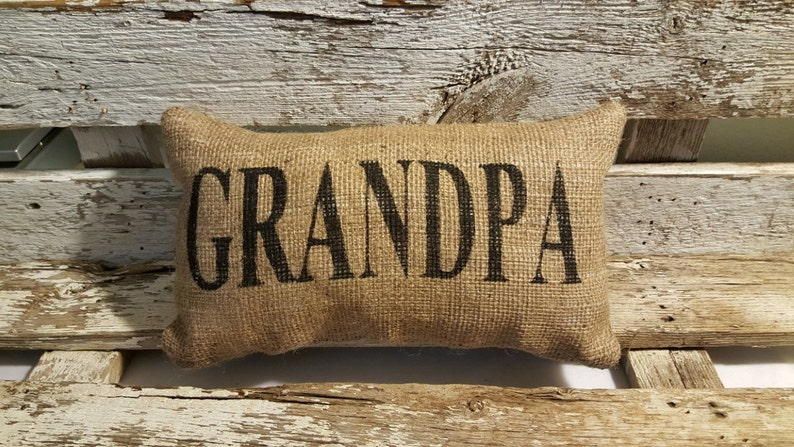 Burlap Grandpa 11 x 6 Stuffed Pillow Father's image 0