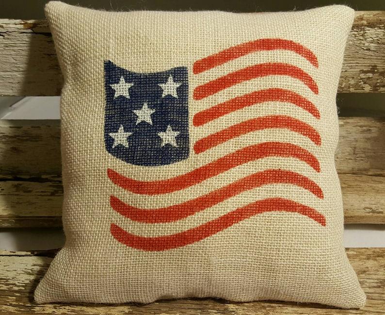 Flag Burlap Stuffed Pillow Americana Burlap Pillow Burlap image 0