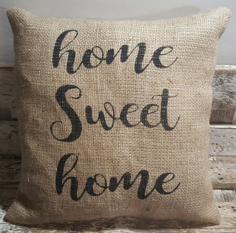 Home Sweet Home Burlap Stuffed Pillow 14 x 14 image 0