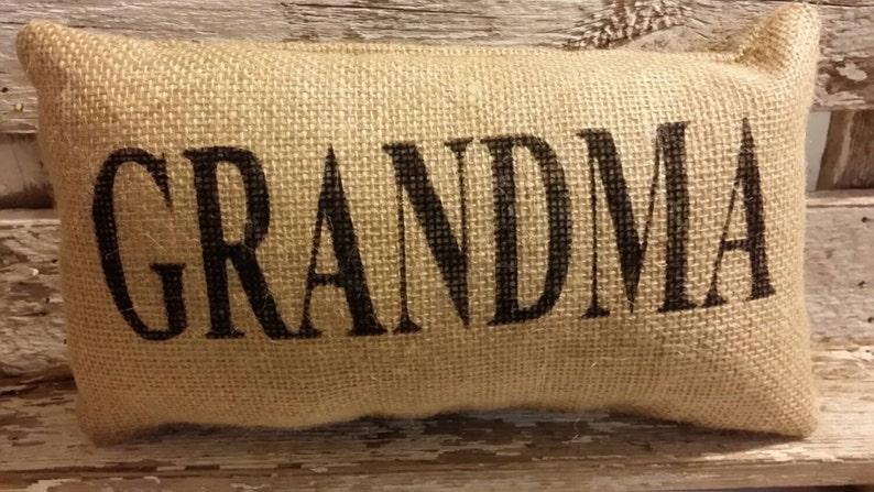Burlap Grandma 11 x 6 Stuffed Pillow Mother's image 0