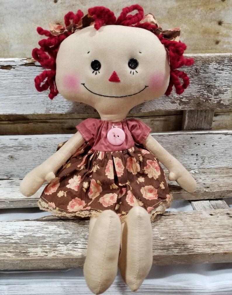 Raggedy Annie Lilly Annie Primitive Doll Raggedy Ann Pink image 0