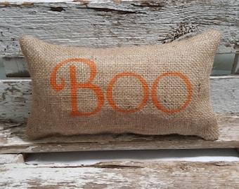"Burlap Boo 11"" x 6"" Stuffed Pillow Halloween Boo Burlap Pillow Orange"