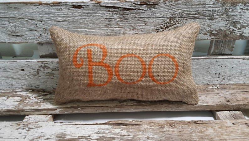 Burlap Boo 11 x 6 Stuffed Pillow Halloween Boo image 0