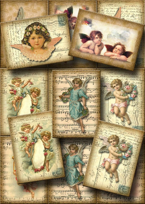 image relating to Printable Sheet Music for Crafts referred to as Angels upon Postcards and Sheet Tunes-Beautiful Common Artwork