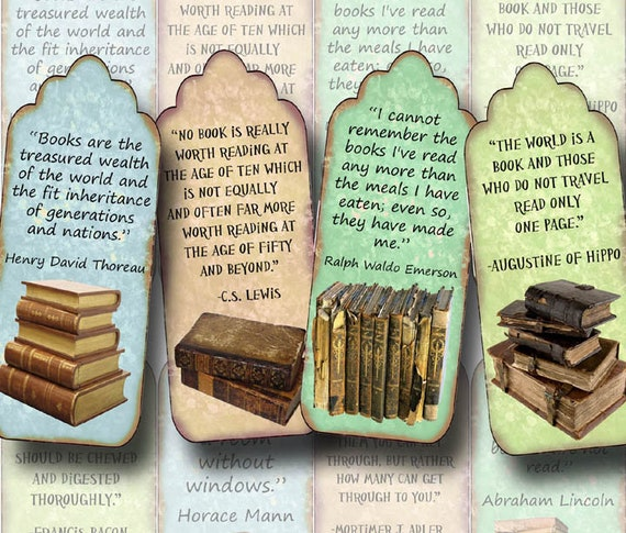 QUOTES - ViNtAgE ArT Bookmarks/Tags-craft supplies - INSTaNT ...