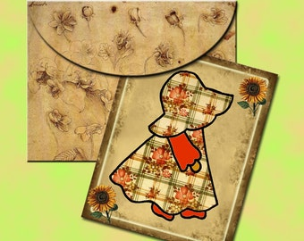 """Sun Bonnet Sue -Primitive Country Chic Note Cards w/ Envelopes-4""""x5"""" - INSTaNT DOWNLoAD -TWO Printable Collage Sheets JPG Digital Files"""