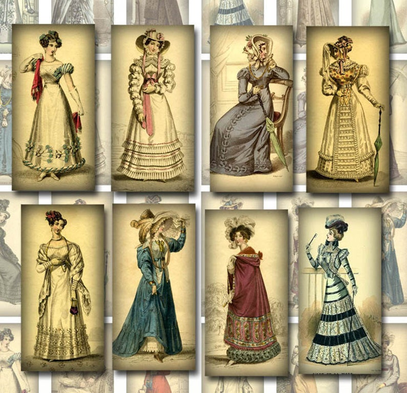 8a81b528d97 Vintage Women-1800's Fashion 1x2 inch images-Jewelry/Craft Supplies  -INSTaNT DOWNLoAD- Printable Collage Sheet JPG Digital File