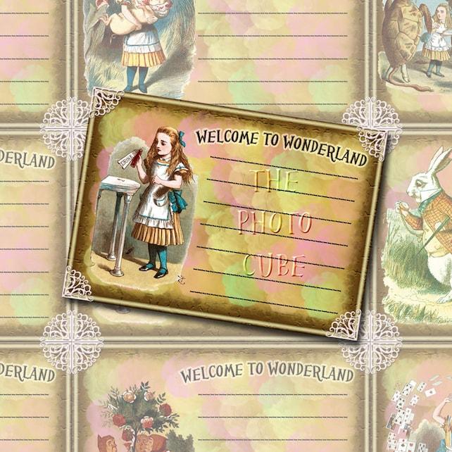 Alice in Wonderland - Welcome To Wonderland Note Cards/Labels/Tags - INSTaNT DOWNLoAD - Printable Collage Sheet JPG Digital File