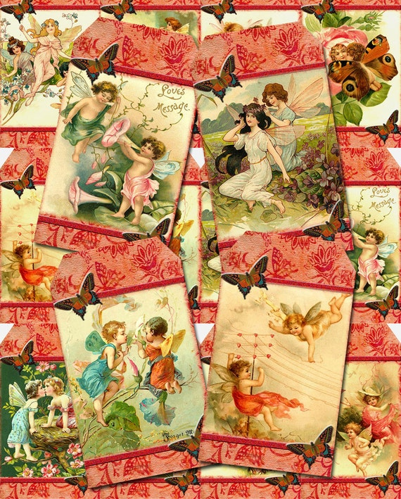fairies pixies sprites elves vintage art hang gift tags etsy