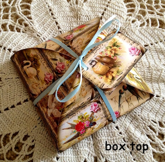 Gift Favor Decorative Box Template With Tags Vintage Swans Etsy
