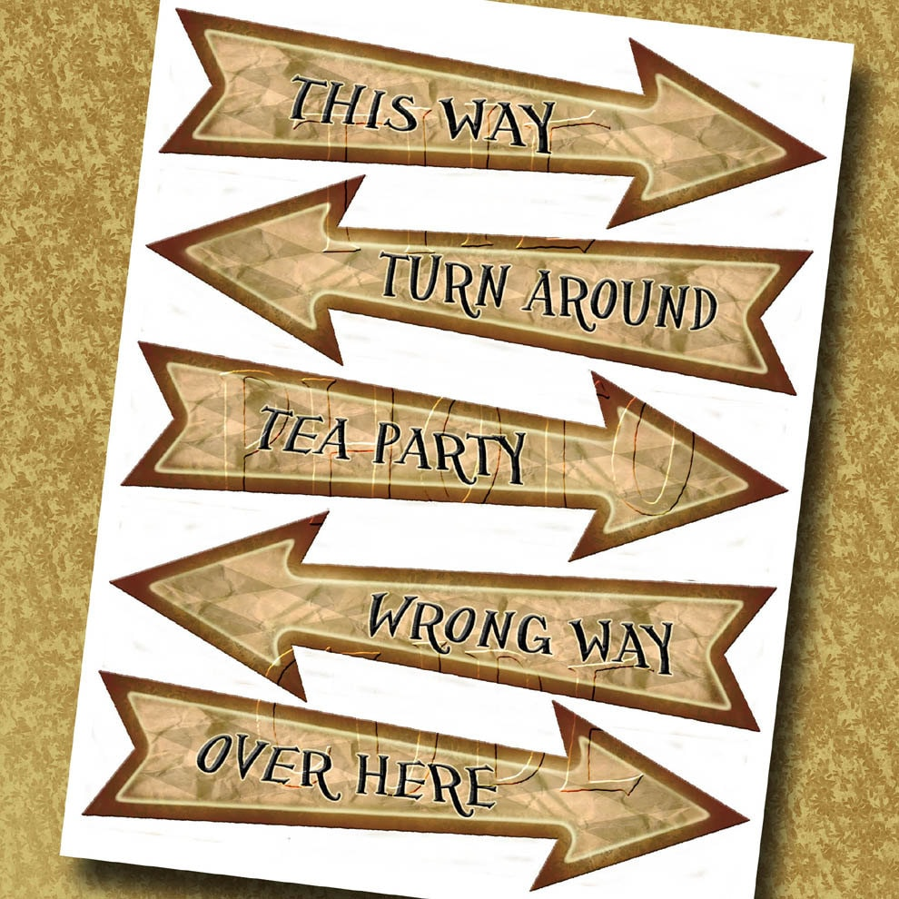 Alice In Wonderland Arrow Signs This Way Wrong Way Tea Etsy
