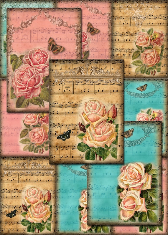 photo about Vintage Sheet Music Printable identified as RoSeS Upon Traditional Sheet New music Artwork Hold Tags/Playing cards/Labels