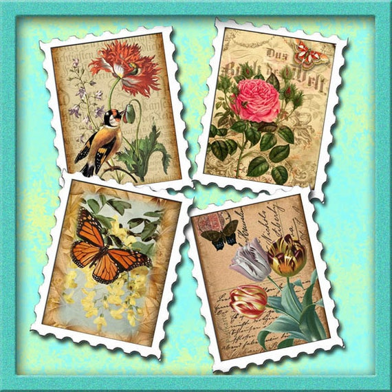 photograph about Printable Postage Stamps called Postage Stamp Affect- Typical Floral Adjusted Artwork Mini Tags