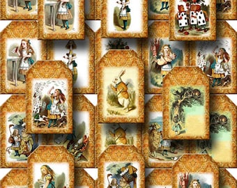 "ALiCe In WoNDeRLaNd- CHaRMiNG Mini Tags 1.6""x2.5"" -ViNtAgE Art- INSTaNT DOWNLoAD- Printable Collage Sheet JPG Digital File"