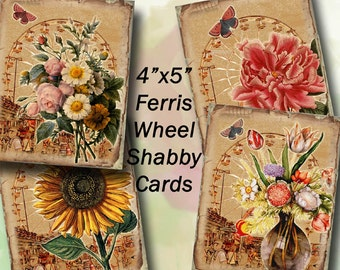 """Florals -JPG Digital Collage Sheet Download -Shabby Chic Ferris Wheel and 4""""X5"""" Cards-Printable - Instant Download"""