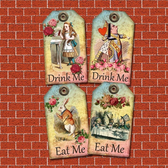 VD0352 Printable Drink Me Eat Me Tags Alice in Wonderland Decor Party Favors paper crafting instant download digital collage sheet