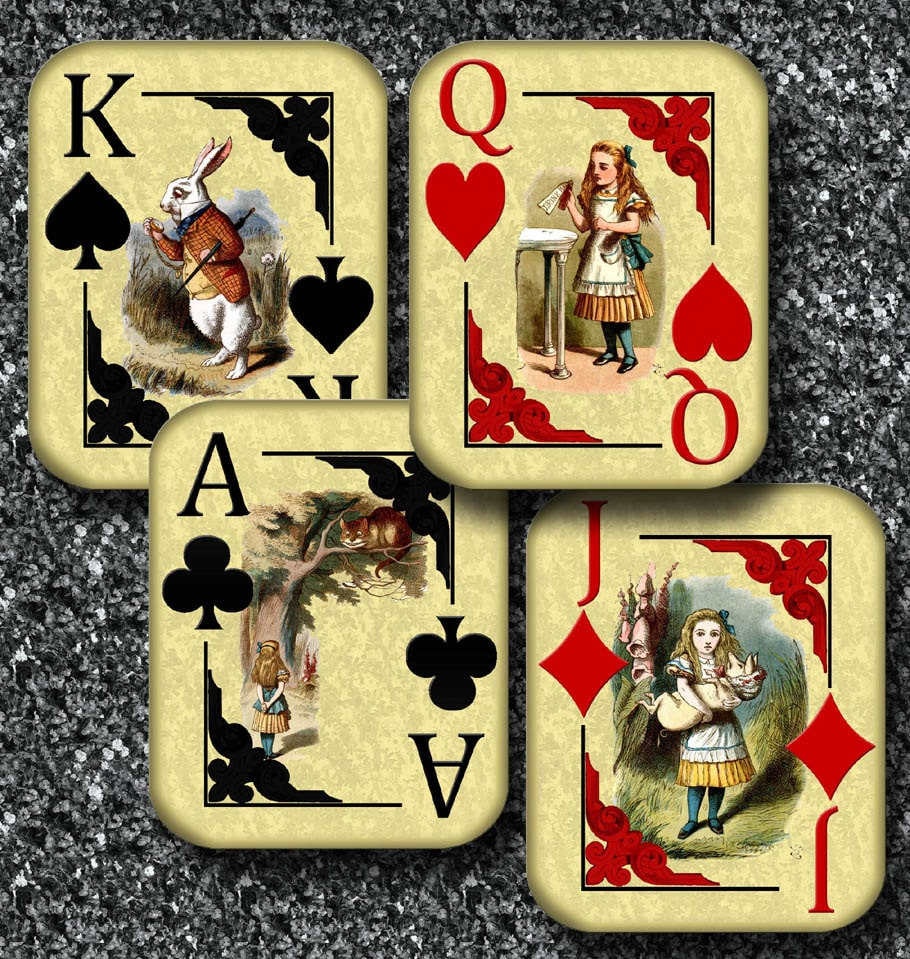 """ALiCE In WoNDERLaND Playing Card Signs-21""""x21""""- jack king queen ace- hearts  diamonds clubs spades - 21 Printable Sheets JPG Digital Files In Alice In Wonderland Card Soldiers Template"""
