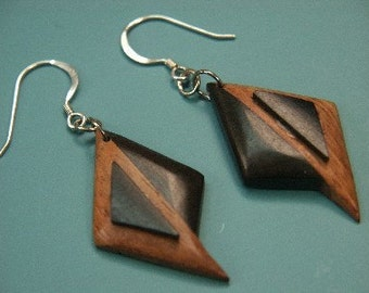 Unusual handmade of vintage 1970s natural organic teak/ebony wood earrings/earhangings with stamped 925 silver earhooks