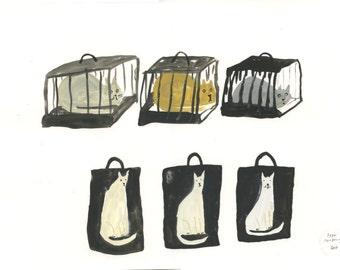 Travelling Cats - Original illustration on paper