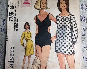 dc6ab834163 Vintage McCall's Pattern number 7755 Misses bathing suit and dress or a  beach shirt