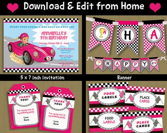 Pink race car invite Etsy