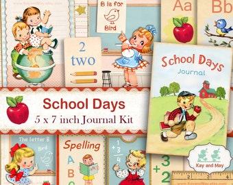 SCHOOL junk journal kit, school journal pages, school diary, school children, school theme, school digital printable, instant download KM-35