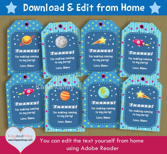 Outer Space Party favor tags astronaut rocket stars ...