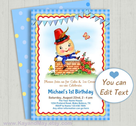 Humpty Dumpty Birthday Invitation
