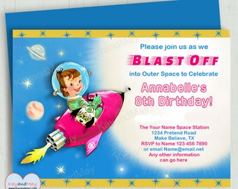 Space invitation - outer space birthday invite - rocket ship space ship - girl astronaut invite - INSTANT DOWNLOAD #P-47 with editable text
