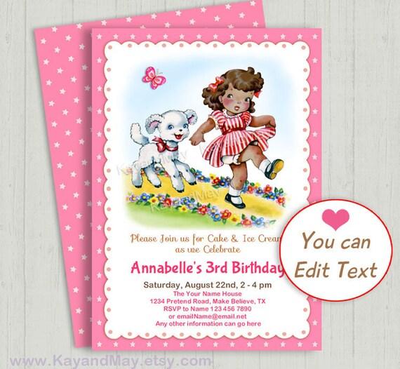 Mary Little Lamb Birthday Invitation