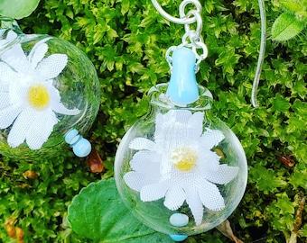 Sky blue glass and silk daisy earrings