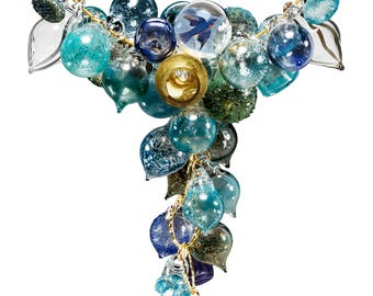 Glass Bubble Statement Necklace-So Blue - bluebird Necklace-every shade of blue -