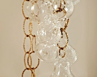 clear and gold pyrex super statement-long glass necklace