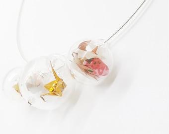 Flying crane trio necklace