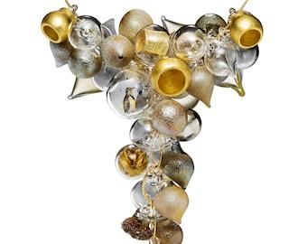 Glass Bubble Statement Necklace -Golden Meringue Necklace