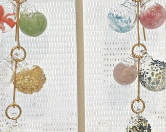 Glass bubbles Pyrex Statement Earrings multi color