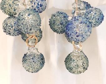 Blue bubbles pyrex cascade earrings